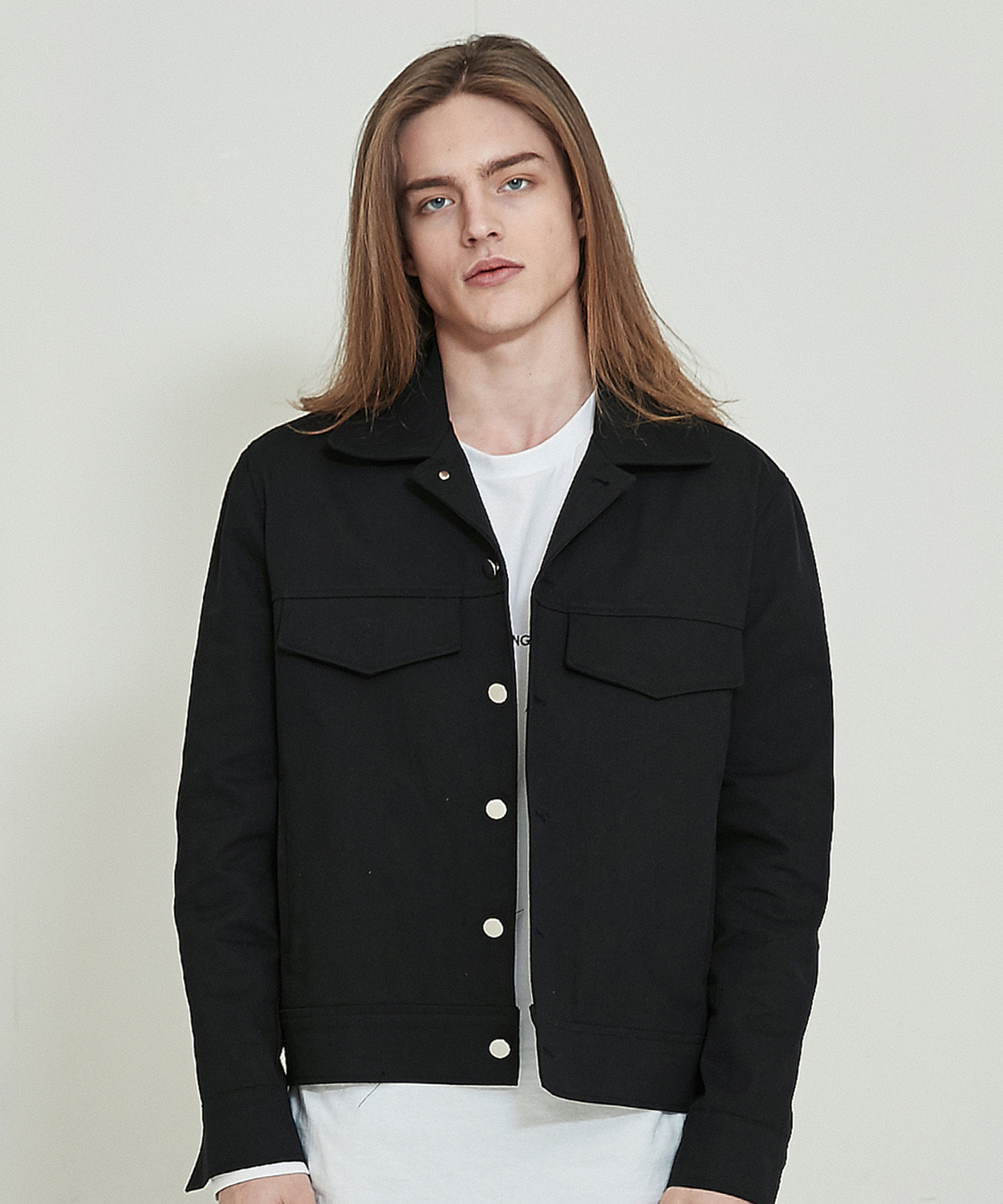 Cotton Trucker Jacket (Black)