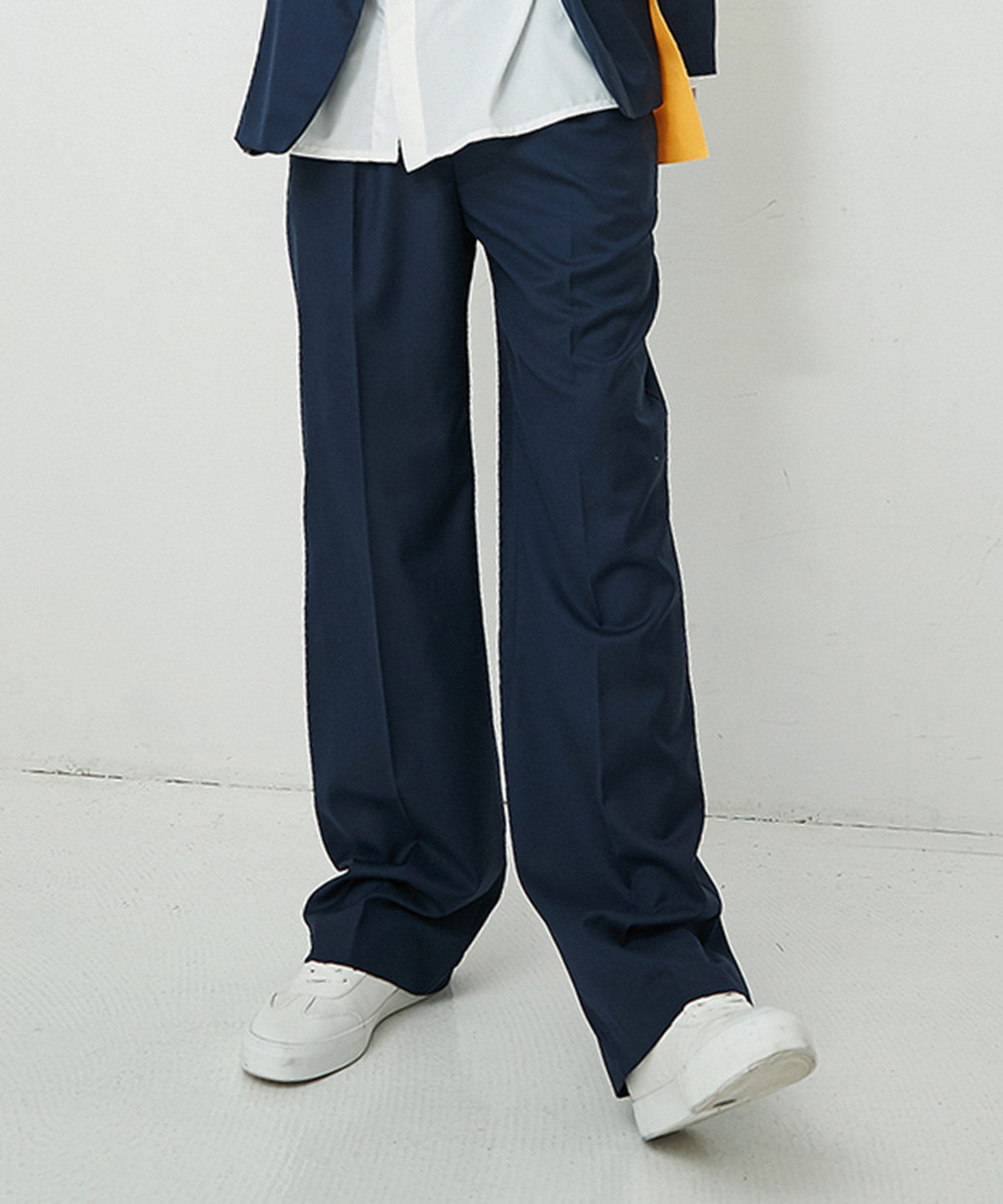 Wide Straight Pants (Navy)