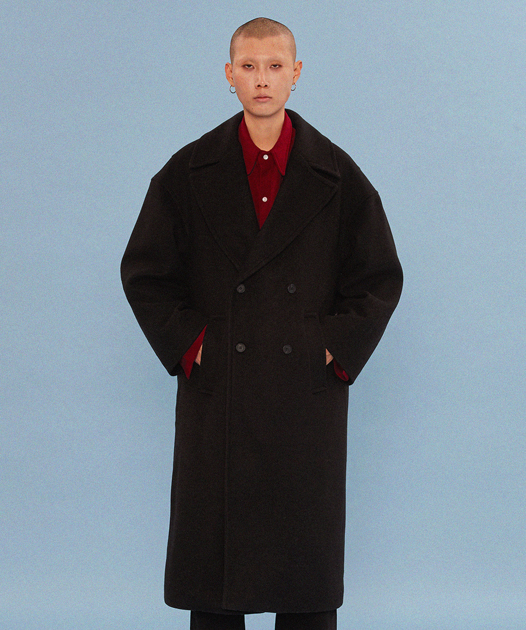 Wool Overfit Double Coat (Black)