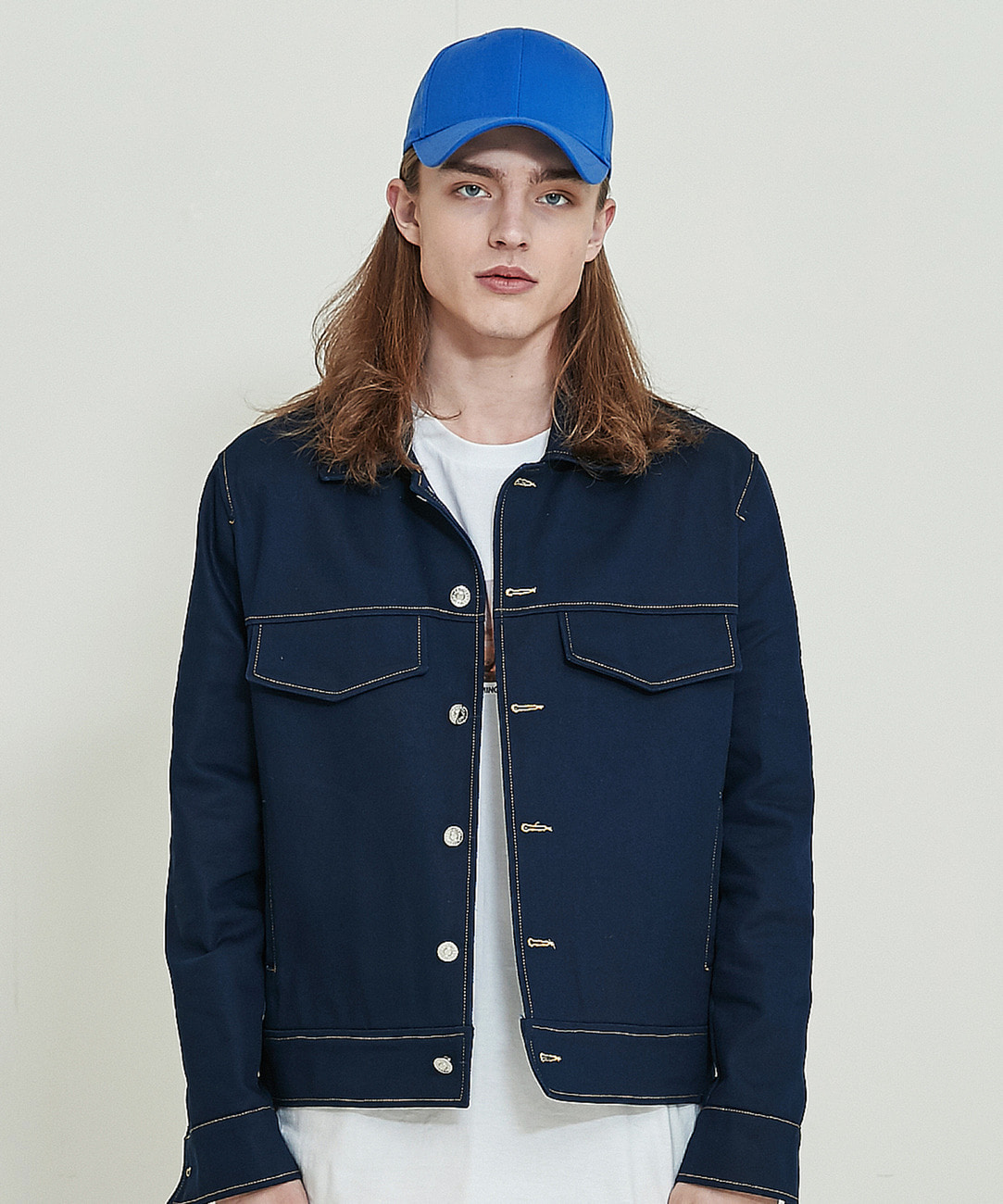 Cotton Trucker Jacket (Navy)