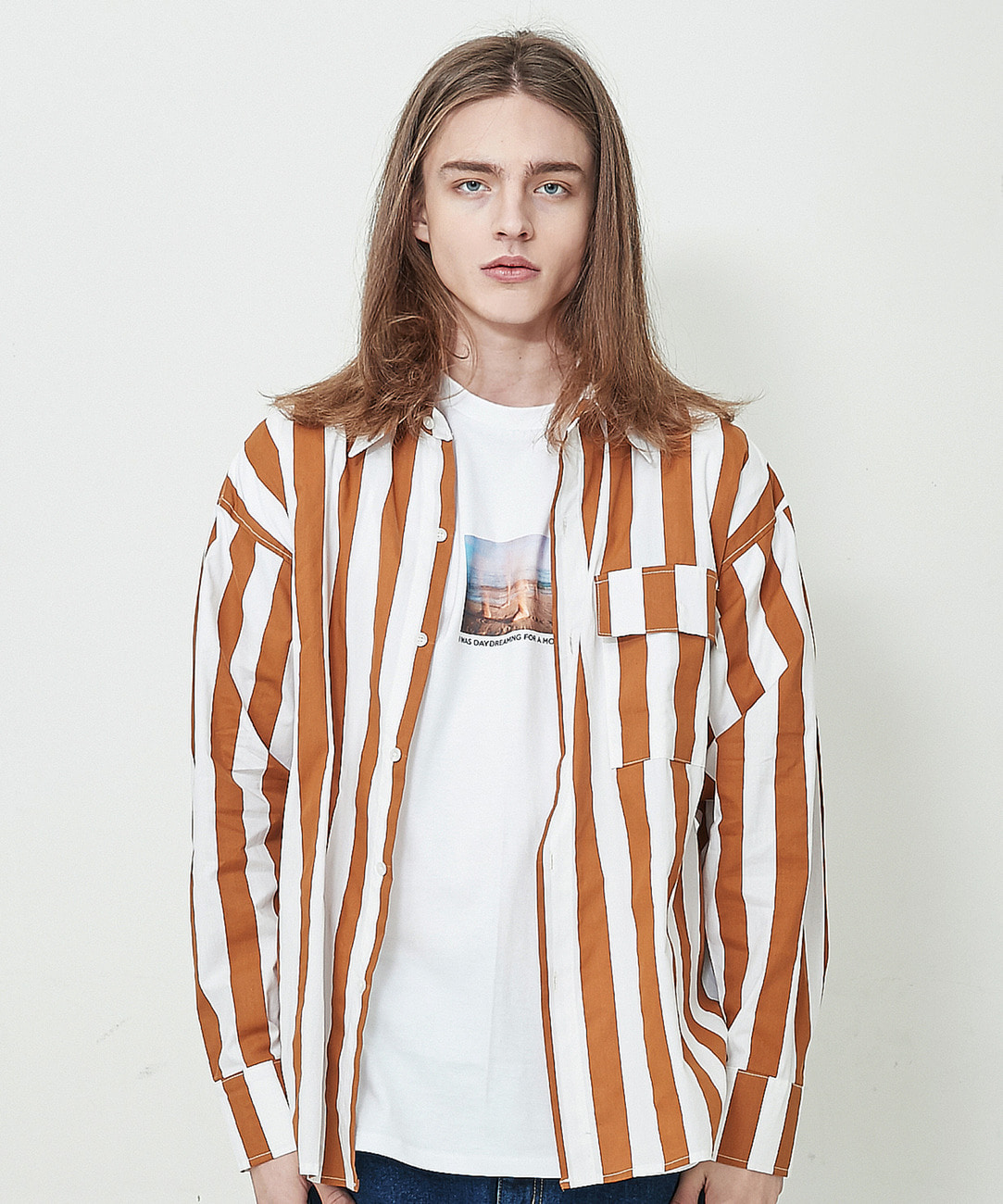 Weighty Stripe Shirts (Brown)