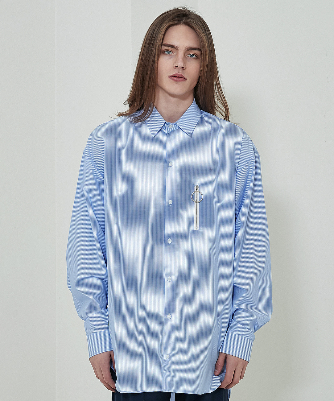 Round Zipper Stripe Shirts (Sky Blue)