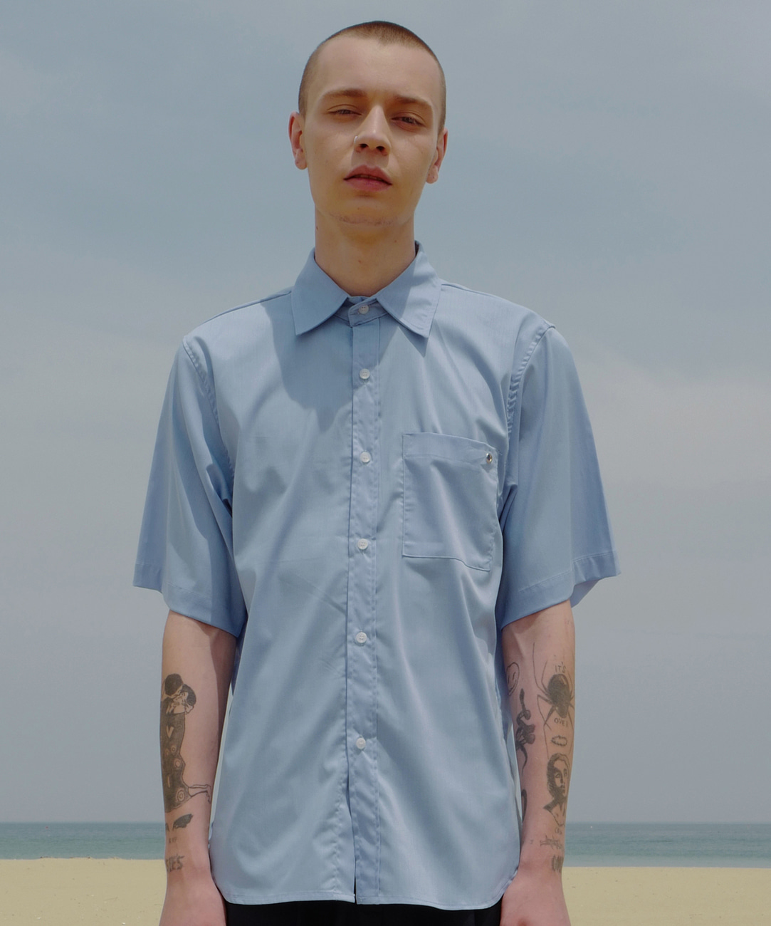 Eyelet Basic Shirts (SkyBlue)