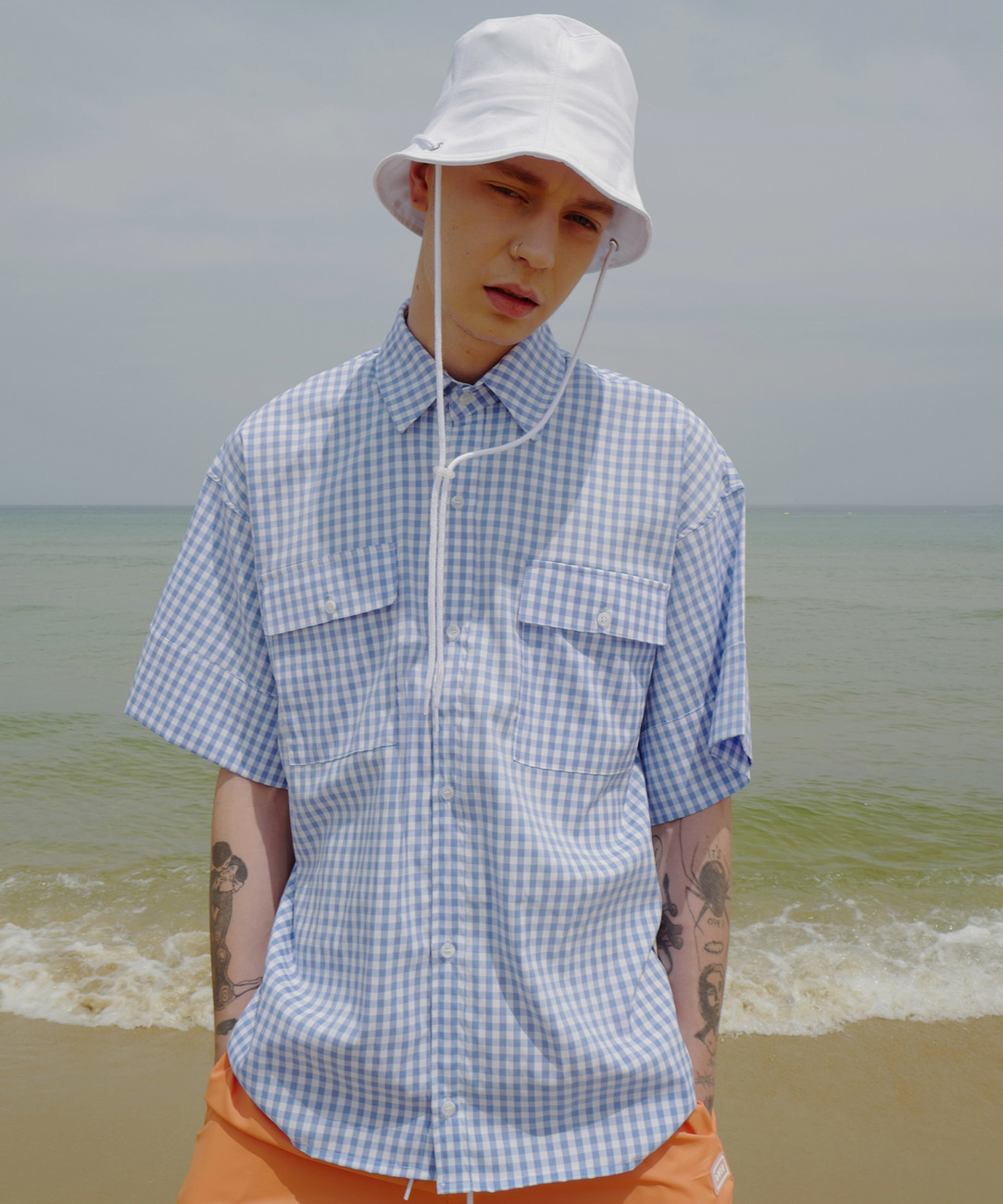 Oversized Cuffs Shirts (Gingham Check)