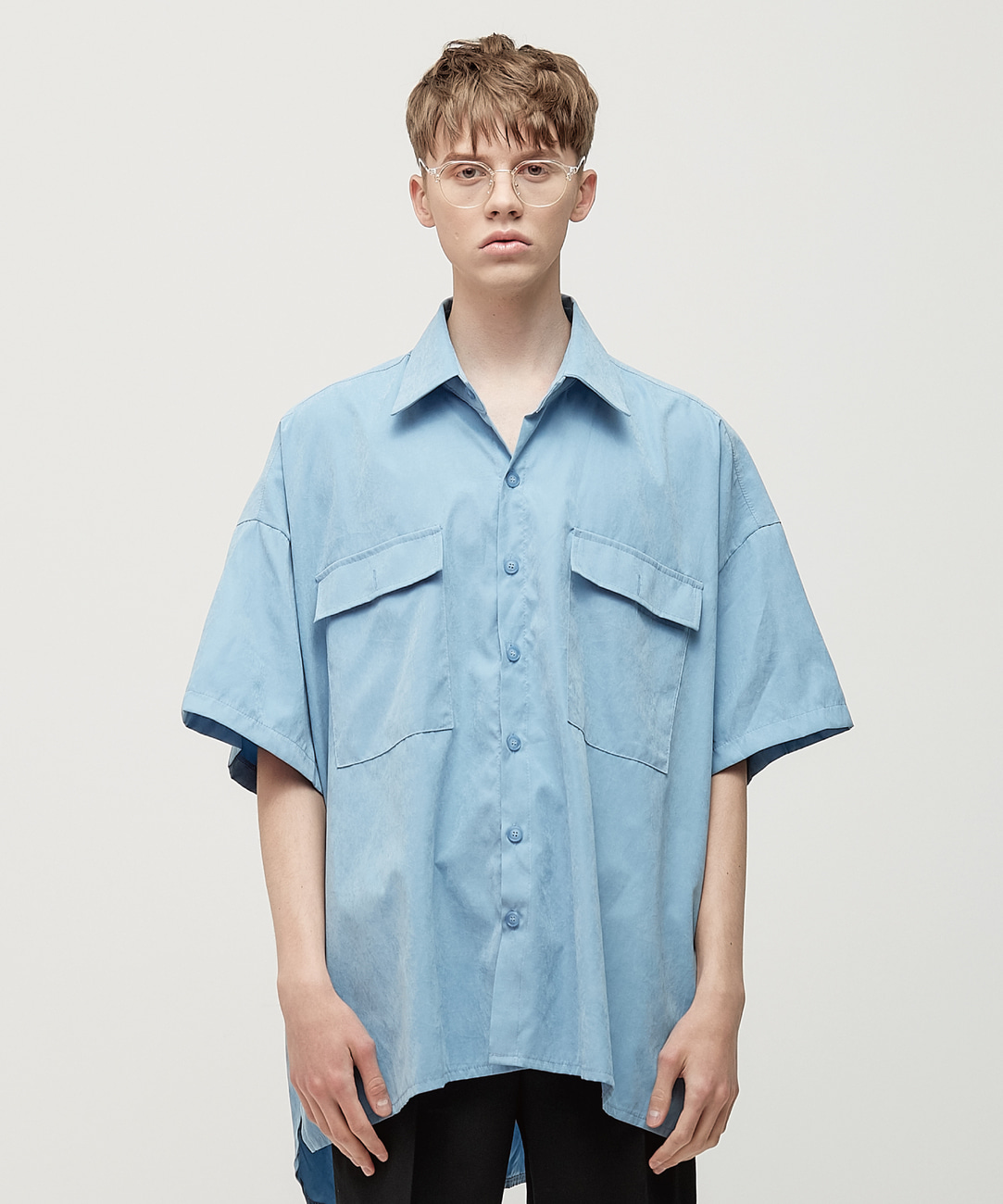 DWS OVER-FIT LABEL SHIRT(SKY BLUE)