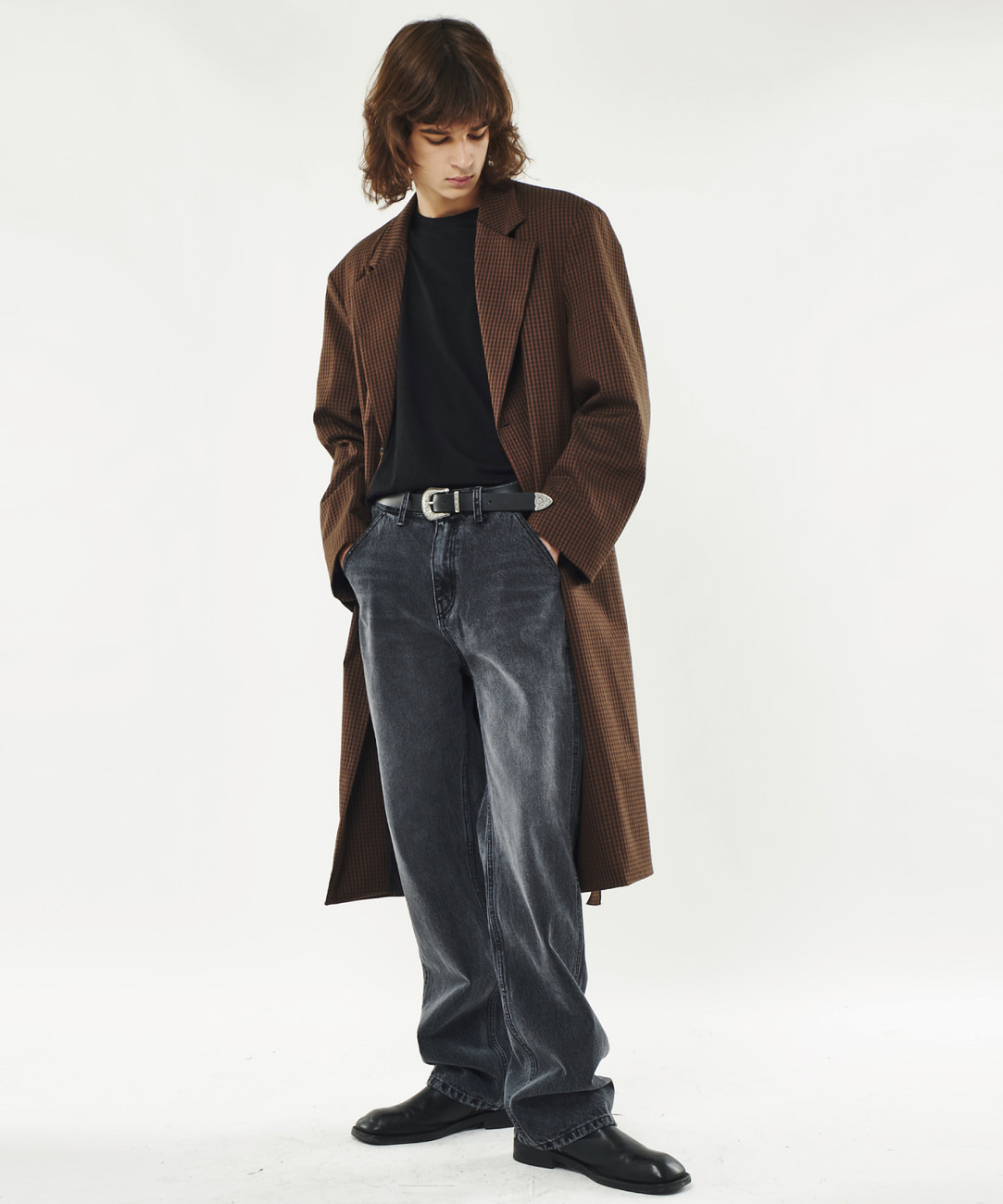 DWS BELTED SINGLE COAT(BROWN CHECK)