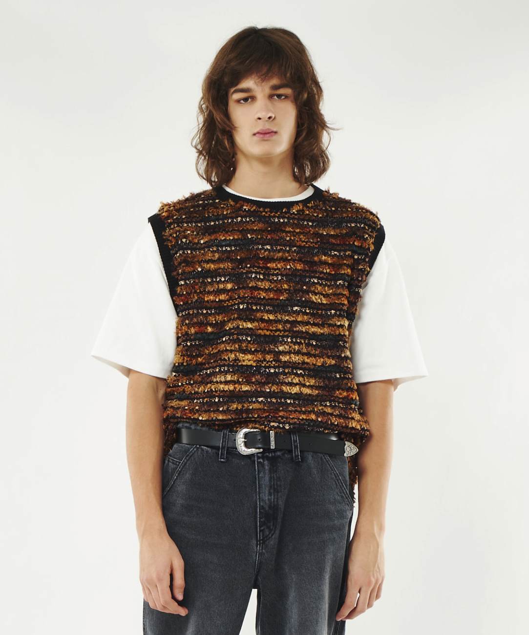 DWS ETHNIC KNIT VEST(BROWN)