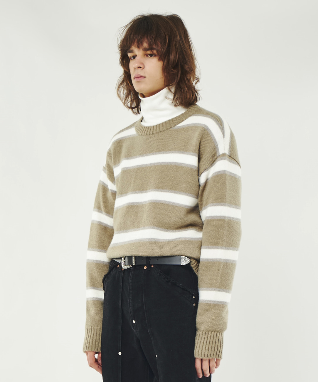 DWS STRIPE MOHAIR SWEATER(GREY)