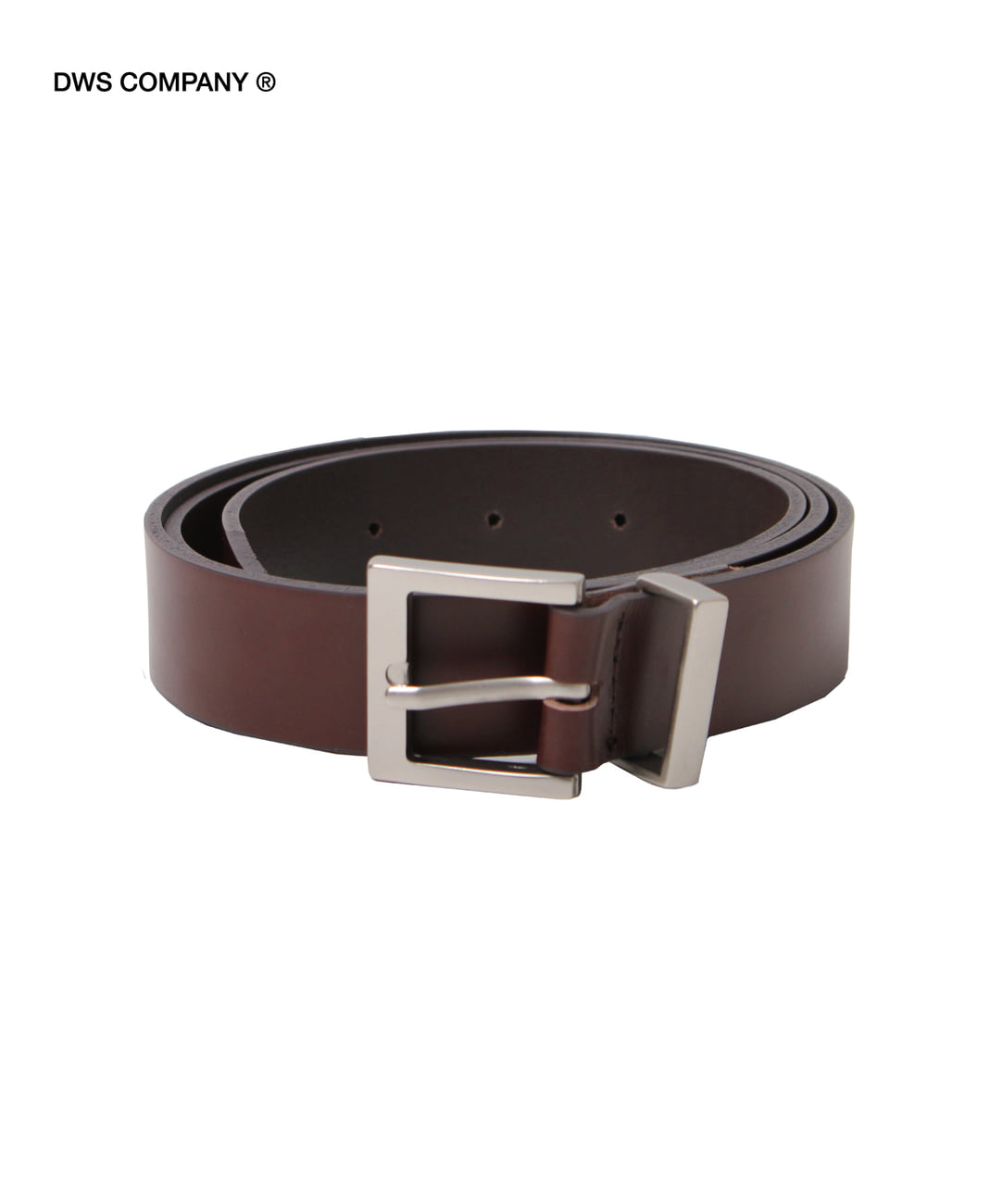 DWS SQUARE LEATHER BELT(DARK BROWN)