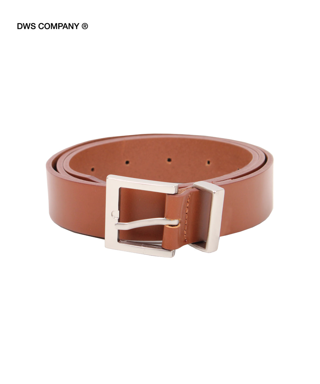 DWS SQUARE LEATHER BELT(BROWN)