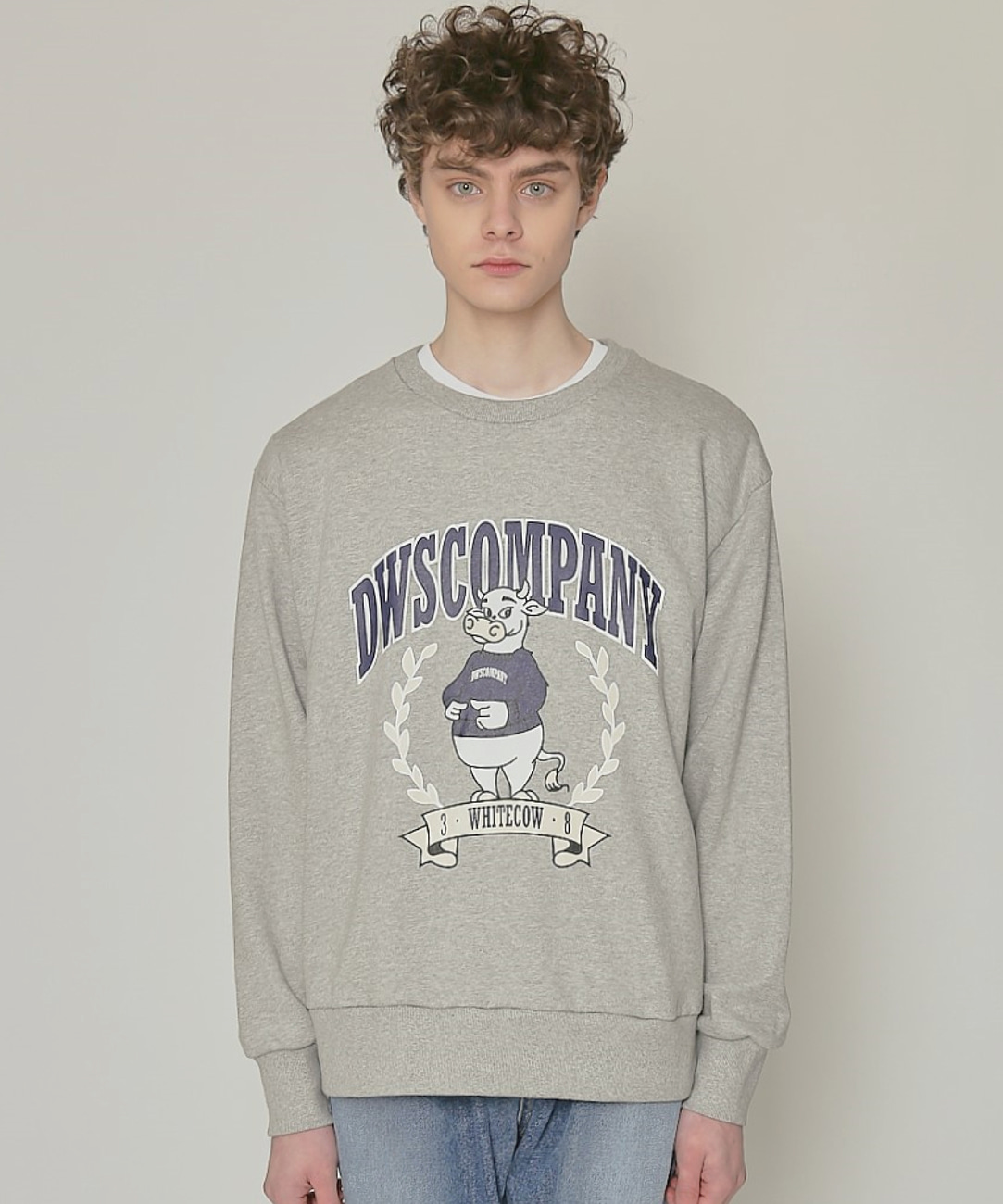 DWS 38 WHITE COW SWEATSHIRT(MELANGE GREY)
