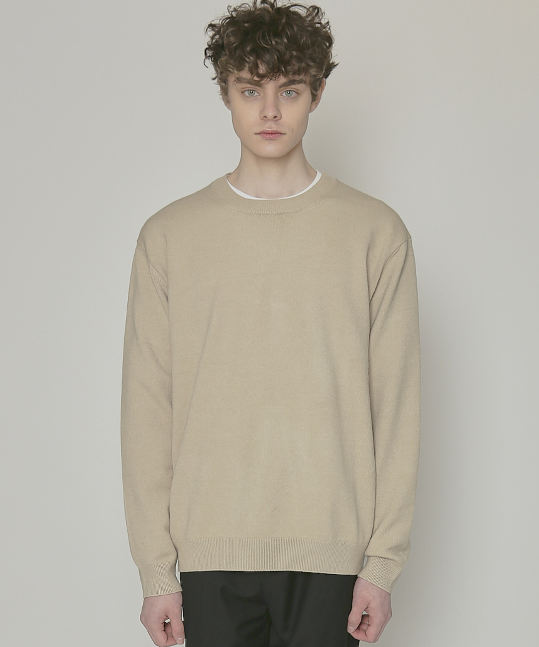 DWS SOFT BASIC ROUND SWEATER(SAND)